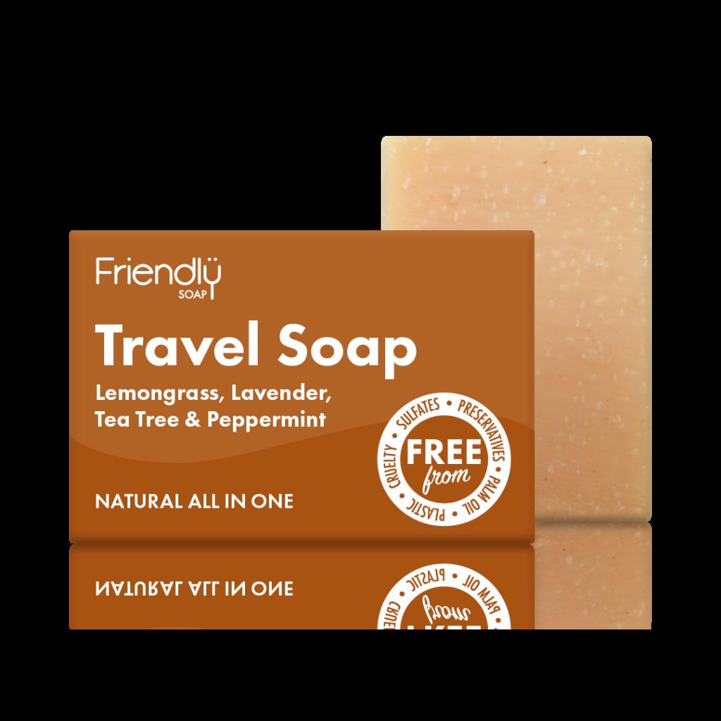 FRIENDLY SOAP natūralus, rankų darbo kelioninis plaukų ir kūno muilas 95 gr. pH 8-9