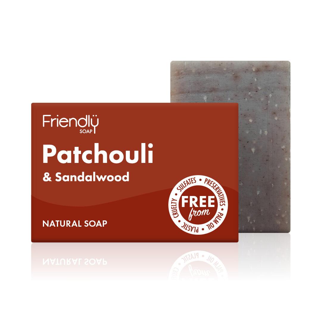 FRIENDLY SOAP natūralus, rankų darbo kūno muilas PAČIULIS IR SANDALMEDIS 95gr. pH 8-9