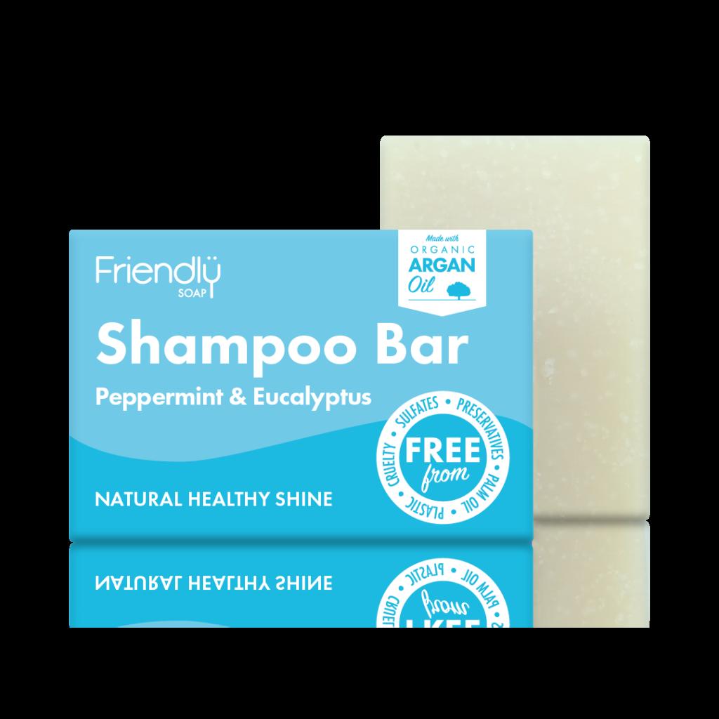 FRIENDLY SOAP natūralus, rankų darbo plaukų muilas šampūnas PIPIRMĖTĖ ir EUKALIPTAS 95gr. pH 8-9