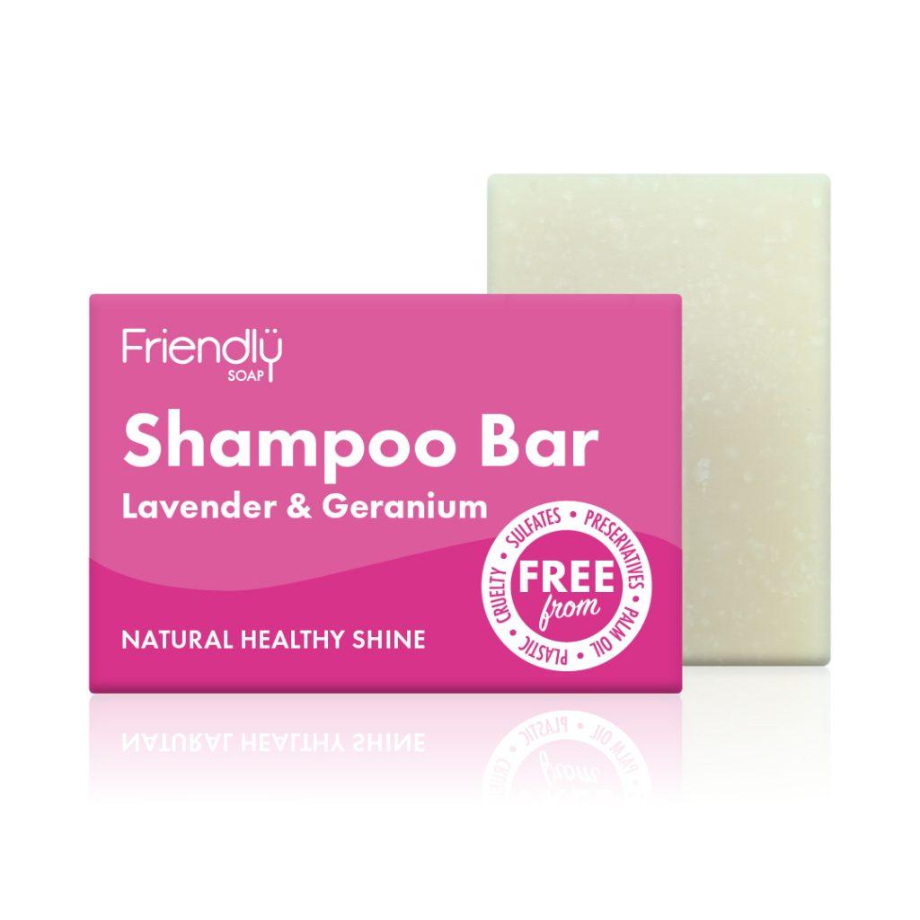 FRIENDLY SOAP natūralus, rankų darbo plaukų muilas šampūnas LEVANDA IR PELARGONIJA 95 gr. pH 8-9